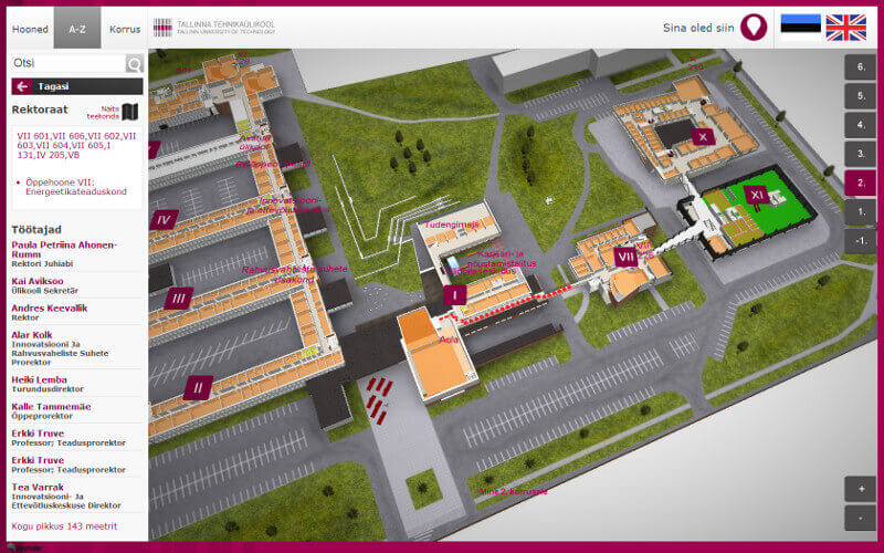 A snapshot of the 3D model of TalTech's campus wayfinding