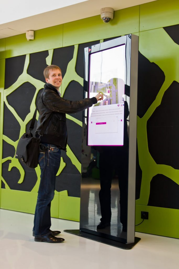 The wayfinding kiosk used by a student - campus wayfinding