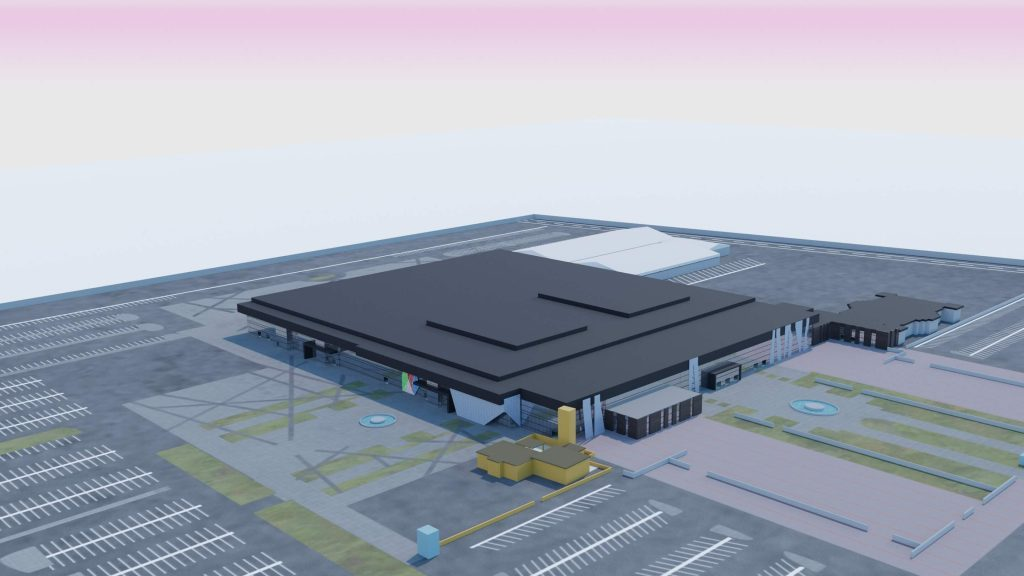 A 3D model of Dhahran Expo - exhibition centre wayfinding
