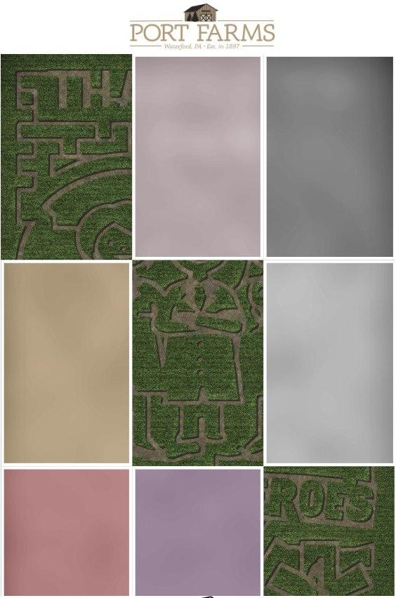 Corn maze map with partly open map tiles.